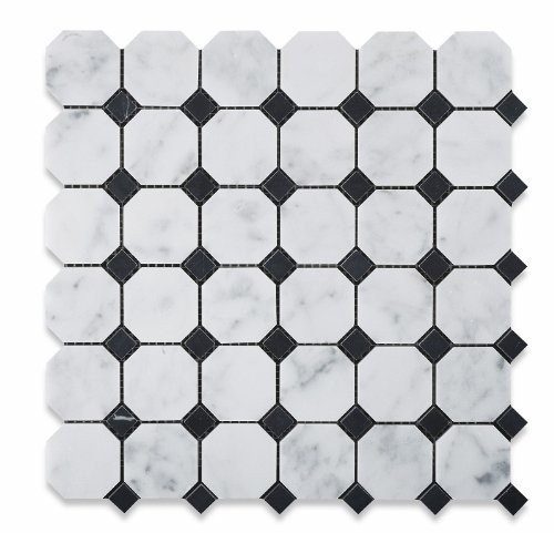 Black Mosaic Tile (Bianco Carrara White Marble Honed Octagon Mosaic Tile with Black Dots - Box of 5 sq. ft. by Oracle Moldings)