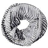 MANUMAR Loop-Schal für Damen   Hals-Tuch in Schwarz Weiß mit Animal Print Motiv als perfektes Herbst Winter Accessoire   Schlauchschal   Damen-Schal   Rundschal   Geschenkidee für Frauen und Mädchen