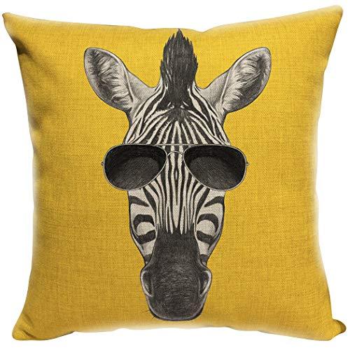 YISUMEI Kissenbezug 80x80 cm Home Decor Sofa Werfen Kissenbezüge Pillowcases Zebra Mit Sonnenbrille