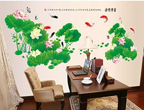 QTXINGMU Lotus Stickers Muraux Riche Et Riche Style Chinois Salon Canapé TV Mural Arrière-Plan Arrière-Plan