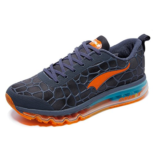 ONEMIX Baskets Basses Homme Chaussures de Running Entrainement Homme Ultraléger Air Lake Blue / Orange