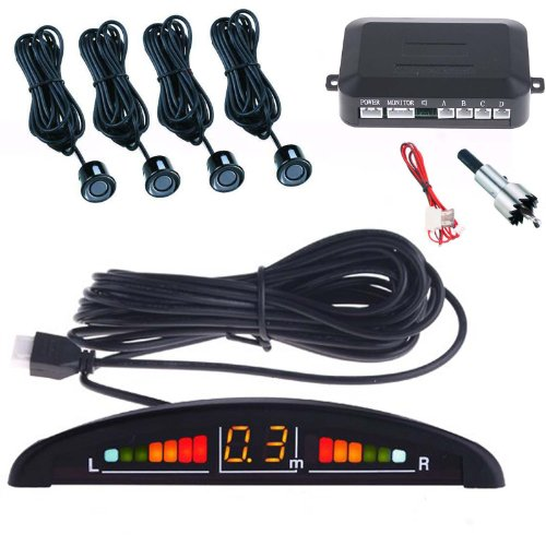 Système d'aide au stationnement avec 4 capteurs, écran LCD, signal sonore Noir