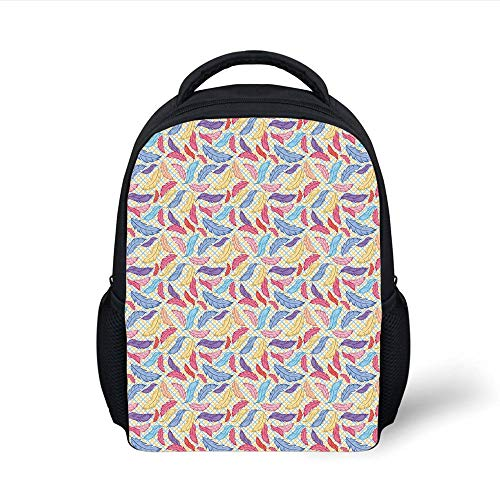 Kids School Backpack Feather,Colorful Plumage on Tartan Inspired Checkered Background Faded Contrast Artful Decorative,Multicolor Plain Bookbag Travel Daypack