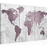 Bilder Weltkarte World Map Wandbild 120 x 80 cm Vlies - Leinwand Bild XXL Format Wandbilder Wohnzimmer Wohnung Deko Kunstdrucke Rosa Grau 3 Teilig - MADE IN GERMANY - Fertig zum Aufhängen 104331a