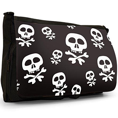 Fancy A Bag Borsa Messenger nero Pirate Jolly Roger Skull & Cross Bone Pirate Jolly Roger Skull & Cross Bone