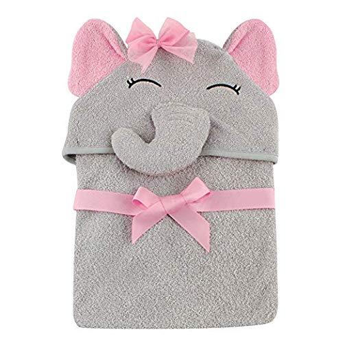 Toalla de bebé con capucha para niña, elefante bonito Toalla de bebé con capucha...