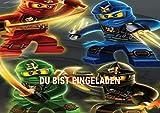 Lego Ninjago Einladungskarten 12er Set inkl. 12 Umschläge N24
