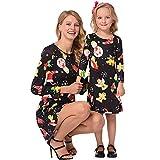 MCYs Weihnachten Mama & Tochte Kinder Kinder Mädchen Cartoon Print Kleid Familie Kleidung Langarm Abend Partykleid (XL, Mama A)