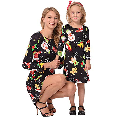 Mutter und Baby Kleid Weihnachten Kostüm Familien Outfit Damen Mädchen Langarm Cartoon Print T-Shirt Kleid A-Line Minikleid von ()