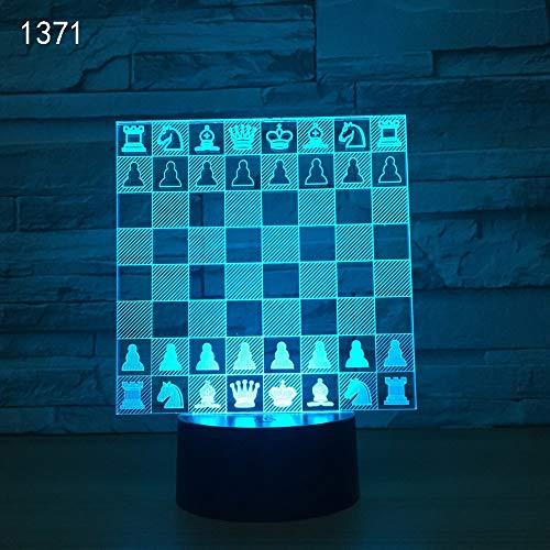 Vitila Illusionslicht-Nachtlicht-Schach-Umgebungslicht-Nachttischlampe Des Tisch-3D Bunte Änderungs-Kreatives Geschenk, Schwarze Unterseite: Bunte Note + Fernbedienung - Sockel Schach