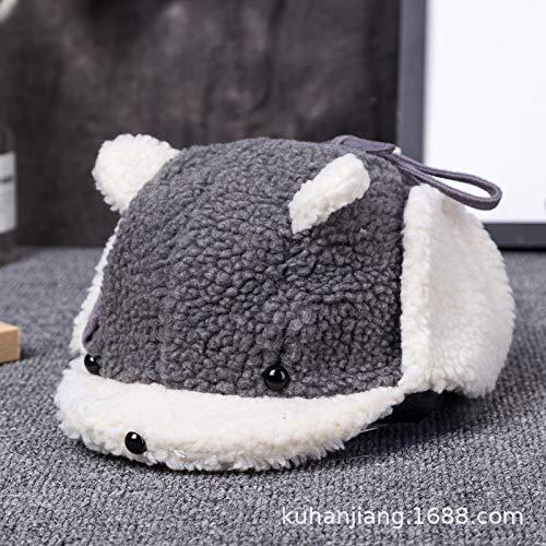 Kostüm Riddler Baby - mlpnko Baby Mütze Kinder Lamm Kaschmir warme Jungen und Mädchen Ohrenschützer grau Code (44-52cm oder so)