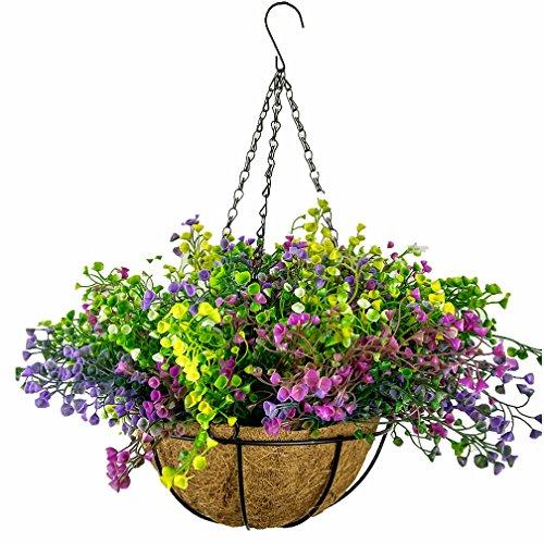 Mynse Colorful Fake Pflanze Blumenampel Balkon Home Dekoration DIY Hängekorb Kunststoff Pflanze Künstliche Folwers Big Basket Bunt