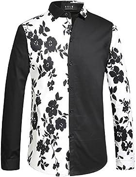 SSLR Uomo Camicie da Button Down Manica Lunga Stampato Floreale
