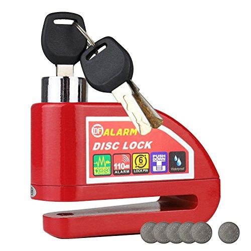 HMF 3510-03 Motorradschloss, Bremsscheibenschloss, Alarmfunktion, 110 db, 9 x 7 x 3,5 cm, rot