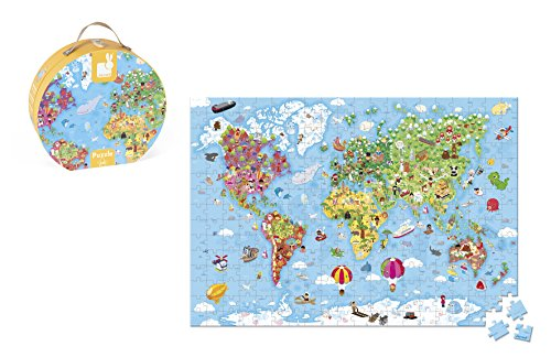 Janod-08502775 Giant Puzzle World Map Case, 300 Pieces, (Juratoys J02775)