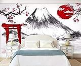 Papier Peint 3D Grue De Prune Mt Fuji Japonaise Abstraite En Noir Et Blanc Papier Peint Intissé Décoration Murale,350cmX256cm