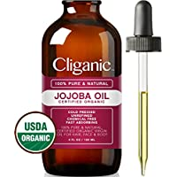 Certified Organic Jojoba Oil 120ml | 100% Pure Natural Cold Pressed Unrefined, Hexane Free Carrier Oil | for Hair Face & Nails | Cliganic 90 Days Warranty