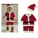 Baby Winter 2tlg. Weihnachten Weihnachtsmann Outfit Kostüm Neugeborenen Jungen Romper Bodysuit Outfit Hut Rot 6-12 Monate