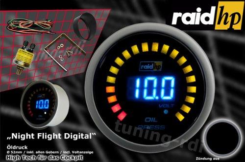 Ansicht vergrößern: Raid HP 660501 Zusatzinstrument Öldruckanzeige Serie Night Flight Digital Blue