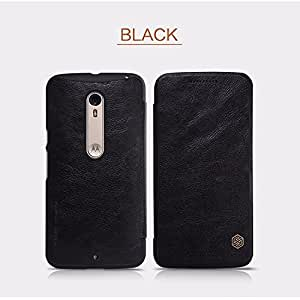 Nillkin Qin Series Elegant Royal Leather Bumper Flip Cover Case for Moto X Style (Black)