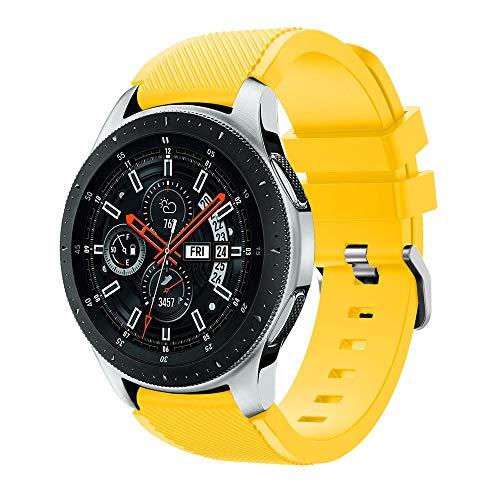 46mm Correa de Silicona de Sarga, Correa de Banda de Repuesto de Silicona Suave para el Reloj de Samsung Galaxy (Amarillo)