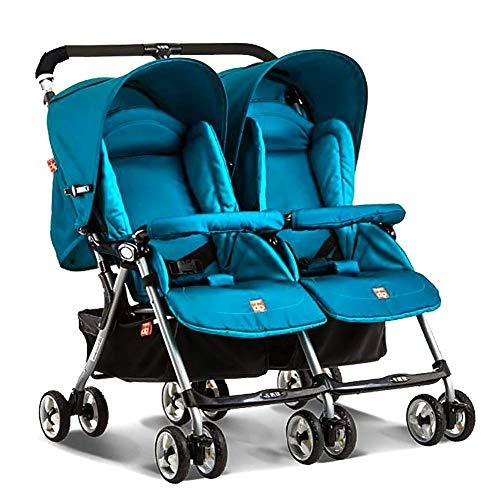 SANLUNCHE Kinderwagen Baby Fuß Falten Lernen Gleichgewicht Auto Kinder Fahren Tragbare Fahrrad Reisen Doppel Baby Baby Kann Sitzen Liegekomfort Sitz Klappbarer Kinderwagen (Color : Blue)