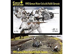 Unbekannt Caesar Miniatures H097Figuras WWII German Invierno Unit with pak36/Servants