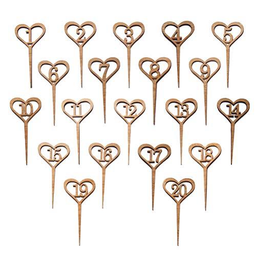 Holztisch Anzahl Karten/Herzform Tisch Kartenhalter/Tischnummer Ständer, Geeignet für Hochzeit/Bankett (Nummer 1-20) ()