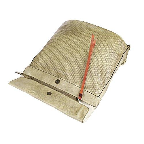 OBC DAMEN LEDER RUCKSACK TASCHE Tasche Cityrucksack Schultertasche Handtasche Shopper Beige Beige