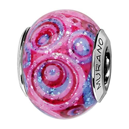 So Chic Joyas© Charm cristal de Murano rosa espiral plata 925-Compatible con Pandora, Biagi, Chamilia, Biagi