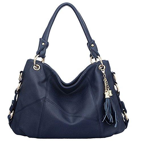 Satchel Schultertasche Handtasche (FiveloveTwo Dame Top-Handgriff Tasche Schultertasche Satchel Handtaschen Tote Taschen Geldbörse Dunkelblau)