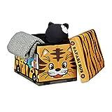 Relaxdays Faltbare Spielzeugkiste Tiger HBT 32 x 48 x 32 cm stabiler Kinder Sitzhocker als Spielzeugbox aus Kunstleder mit Stauraum