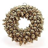 Naturkranz Deko-Kranz groß Ø 30cm in Petrol, gefertigt aus Kokos-Früchten. Türkranz zum hängen oder als Tischdekoration im Shabby chic Design, zeitloses Wohnaccessoires als Natur-Deco von Glaskönig