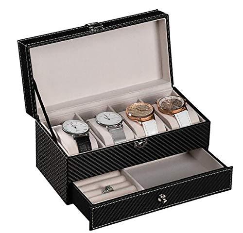 WG Kohlefaser 2 Schichten 4-Bit-Box mit Schublade Uhrenbox Lagerung Uhren Display Aufbewahrungsbox Fall Schmuck Uhr Collector Case,C