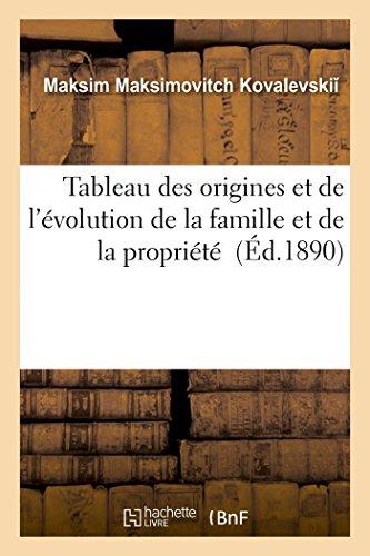 Tableau des origines et de l'évolution de la famille et de la propriété