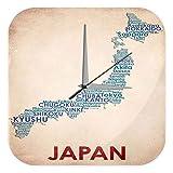 LEotiE SINCE 2004 Wanduhr mit geräuschlosem Uhrwerk Dekouhr Küchenuhr Baduhr Urlaub Reisebüro Deko Landkarte Japan Acryl Uhr Retro