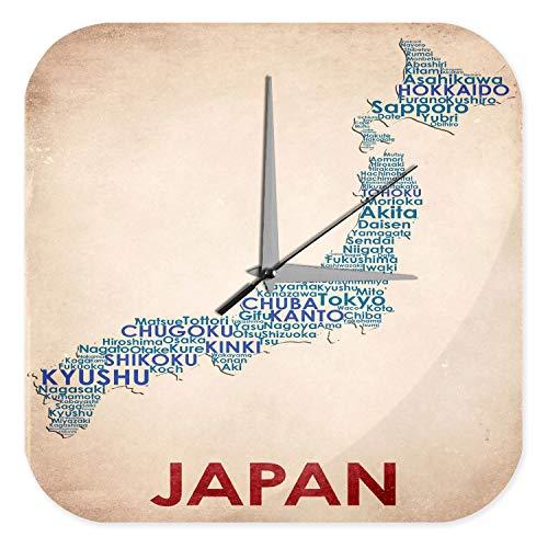Wanduhr Urlaub Reisebüro Deko Landkarte Japan Acryl Uhr Retro
