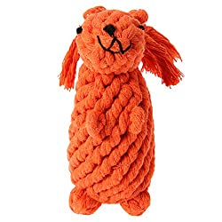 Rrimin Handmade Braid Squirrel Toy Cotton Rope Chewing for Pet Dog Teeth Grind (Orange)