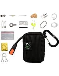 The Friendly Swede Kit de Survie Multi-Usage: 20 Accessoires (dont une Couverture de Survie et une Scie à Fil) Inclus dans une Sacoche de Corde de Survie de 250 kg (550lb) - GARANTIE A VIE