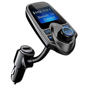 Transmetteur FM Bluetooth VicTsing Kit de Voiture Mains Libres Sans Fil Chargeur USB de Voiture avec 3.5mm Port Audio, Fente pour carte TF, Écran de 1.44 Pouces pour iPhone 7 7 Plus, Galaxy S7 S6, HUAWEI P9 P8, Sony Xperia, HTC, etc