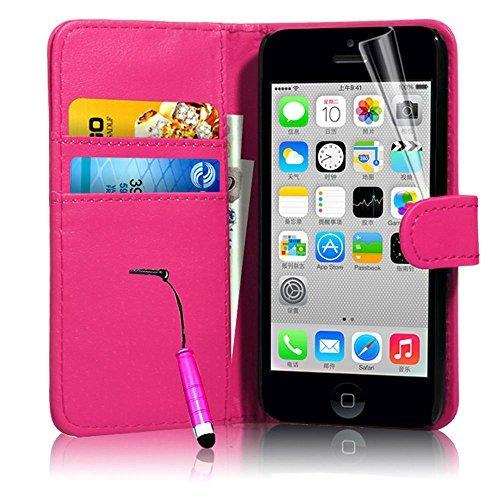 Connect Zone iPhone 5/5G/5S/SE haute qualité PU étui rabat portefeuille cuir Pochette + Protège Écran + Chiffon De Polissage Et Stylet - Porte-monnaie Rose A Clapet, iPhone 5/5G/5S/SE