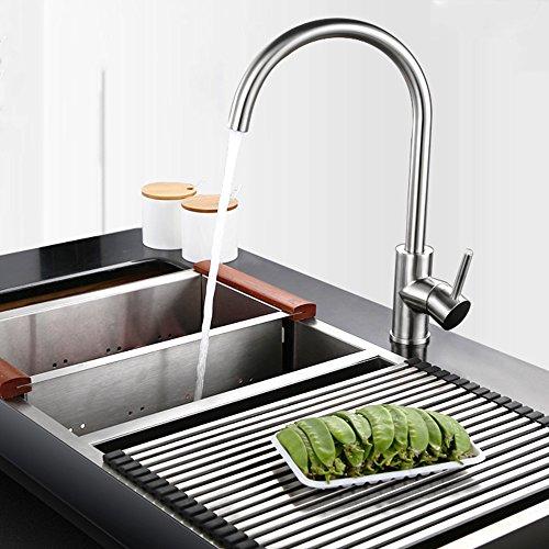 Hausbath - Grifo de cocina de acero inoxidable cepillado con mango simple de alto arco para fregadero de cocina, grifos de cocina con pulverizador extraíble