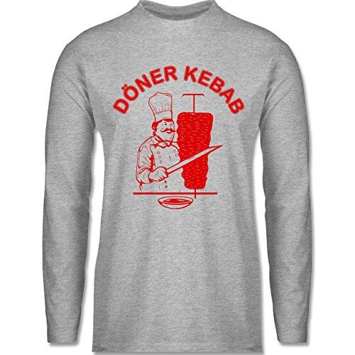 Shirtracer Statement Shirts - Original Döner Kebab Logo - Herren Langarmshirt Grau Meliert