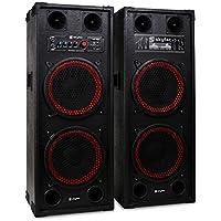 """Skytec SPB-210 Sonido profesional Pareja de Altavoces autoamplificados DJ 25cm (10"""") 1200W aux USB, SD CD, MP3 Asas y ruedas de transporte"""