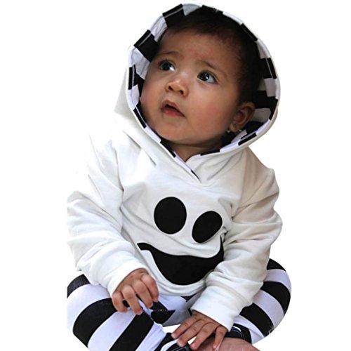 Kleidung Set Von Xinan Little Devil Hood Bluse Stripe Hose Halloween Outfits (90, Weiß) (Niedliche Halloween Outfits Teenager)