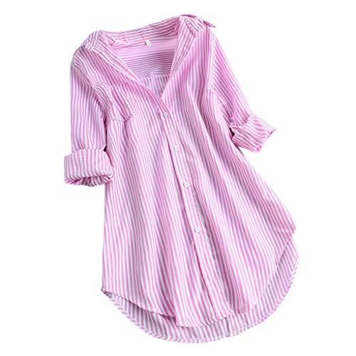 Zegeey Damen Kurzarm Oberteil T-Shirt Rundhals Ausschnitt Baumwolle Und Leinen Cat Drucken Asymmetrischer Saum Lose LäSsige Bluse Hemd Shirt Blusen Locker Basic Tops(C1-Rosa,5XL)