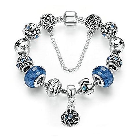 Szsmart Femmes Chaîne de Serpent Plaqué Argent Breloques Cristal et Verre Véritable Bracelet Charms Zircon Cubique Bijoux Mode DIY Style Réglable, 18 CM