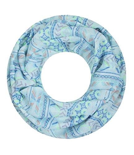Majea NEUE Kollektion Damen Loop Schal viele Farben Muster Schlauchschal Halstuch in aktuellen Trendfarben (hellblau 28)