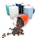 6 große Kaffeebecher Bunt Set Keramik 400ml in 6 schönen Pastell Farben für Ihr liebstes Heißgetränk für Kaffee, Cappuccino und Latte Macchiato