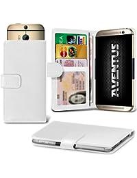 Aventus (White) Vodafone Smart Platinum 7 Universal Case Etui Housse Wallet Spring Clamp Premium Pu Cuir Avec Caméra Slide, Titulaire De La Carte De La Fente Et Billets Pocket
